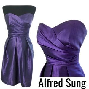 Alfred Sung Strapless Purple Dress Size 4